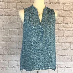 Vince blue/white silk sleeveless top size XS